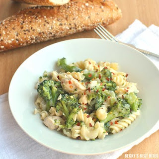 Guiltless Chicken Alfredo with Broccoli.