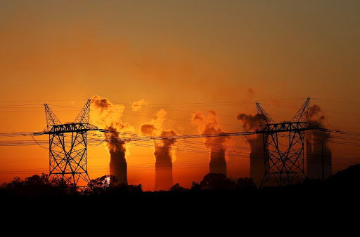 Electricity pylons at an Eskom power station near Sasolburg.