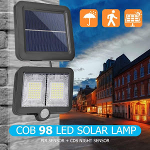 Proiector cu 98 LED si panou solar, senzori miscare, rezistent la apa