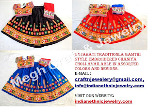 Photo: RABARI KUTCH EMBROIDERED LEHENGA CHOLI-APPROX SIZE: Height of Skirt (chaniya) -37 - 41''inch/Skirt flared size (width )-144''- 146''inch It will comes with full embroidery work (front & back side)/Size of Blouse : Regular (free size)