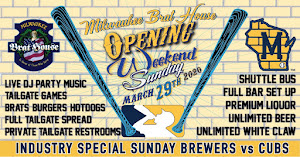 SUNDAY Opening Weekend Tailgate in the Sausage Haus Pavilion @ Miller Park 3/29/2020