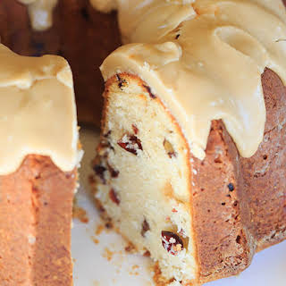 Cranberry-Pecan Pound Cake with Praline Frosting.