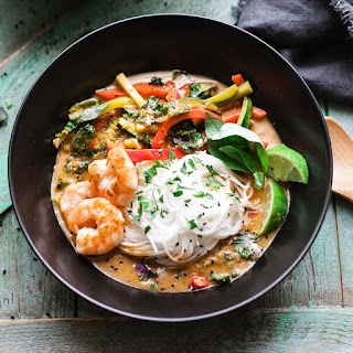 Prawn and Thai Red Curry Noodle Bowls.