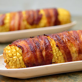 Bacon-wrapped Corn with Chipotle-Honey Glaze.