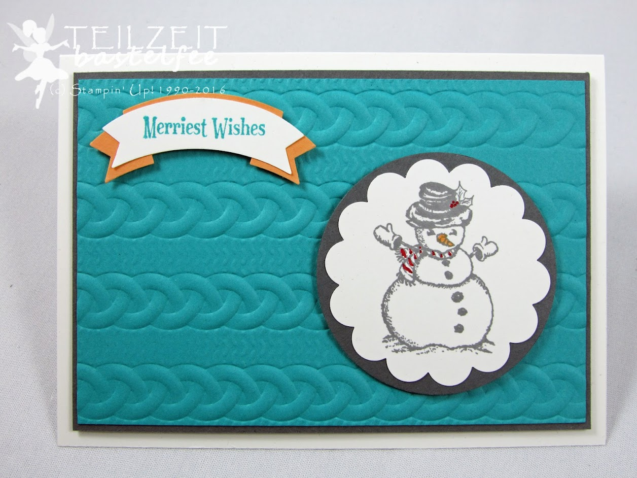 Stampin' Up! – In{k}spire_me #268, Color Challenge, Prägeform Zopfmuster, Cable Knit Dynamic Textured Impressions Embossing Folder, Christmas Magic, Bannerduo Stanze, Punch Duet Banner, Circle Punch