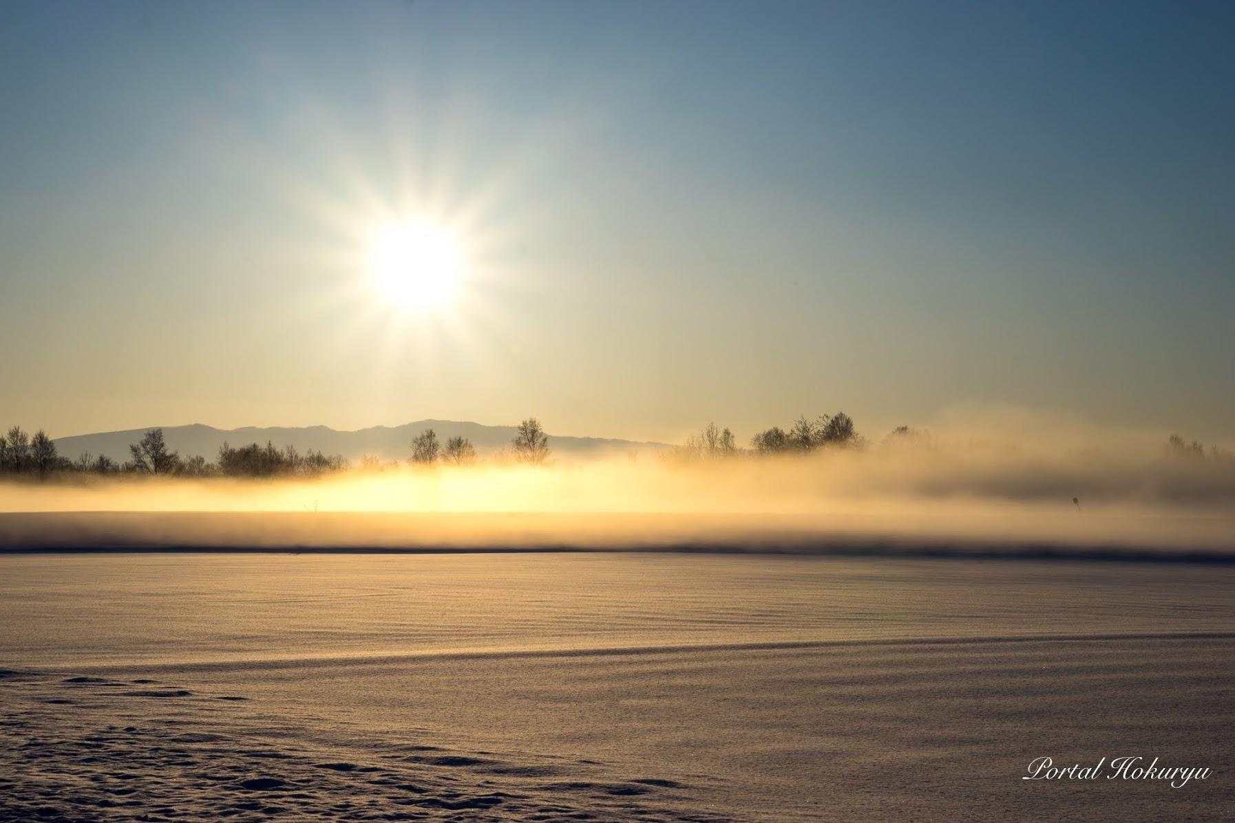 黄金に染まる朝霧