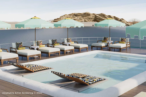 A rendering of the sun deck on AmaDahlia.