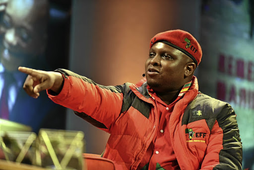 The EFF's Floyd Shivambu is happy after Kaizer Chiefs beat Mamelodi Sundowns. File photo.