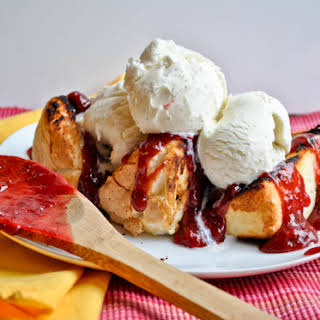 Grilled Angel Food Cake with Strawberry Rhubarb Compote.