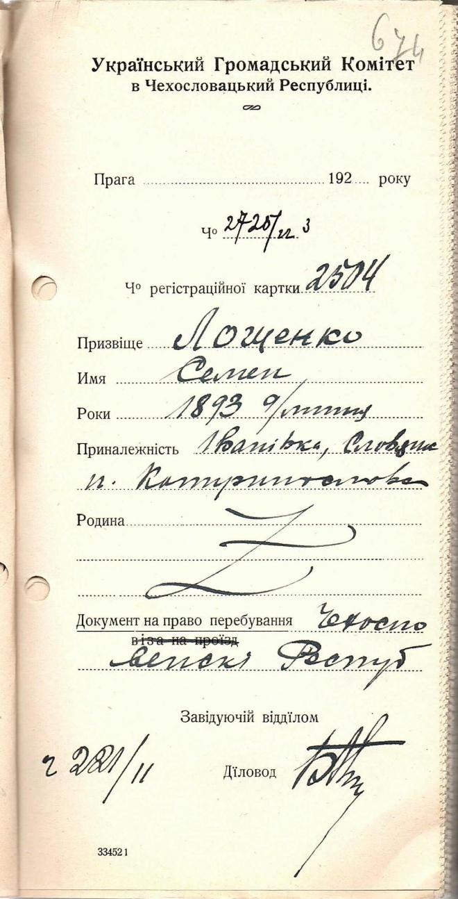 Реєстраційна картка Семена Лощенка, 1921 рік