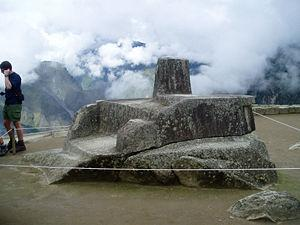 La piedra Intihuatana de Machu Picchu.