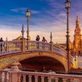 plaza España, Sevilla by -. Phœnix .- - City,  Street & Park  Vistas ( plaza españa, sunset, sevilla )