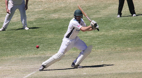 Narrabri's Tom Craig in action against Armidale at Collins Park on Sunday in round five of the War Veterans Cup. Craig finished unbeaten on 24 in his side's eight-wicket win.