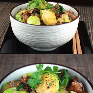 Food Gal's Stir-Fried Brussels Sprouts and Pork in Black Bean Sauce.