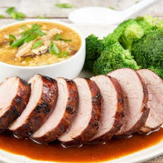 Chinese BBQ Pork With Egg Drop Soup and Broccoli
