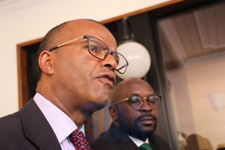 Lawyers Philip Murgor and Cliff Ombeta at a press conference