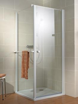 Porte de douche pivotante avec paroi latérale
