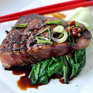 Seared Tuna Steak With Dark Soy, Ginger & Shallots.
