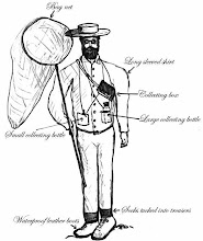 Photo: Rough sketch by George Beccaloni showing details of the statue's clothing and equipment which was sent to Anthony in February 2013. The design of the shirt had not been worked out at this point. Copyright George Beccaloni.
