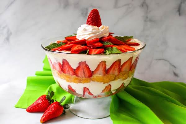 Strawberry Shortcake Trifle Ready To Be Served.