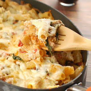 Baked Pasta with Sausage, Mushroom, and Spinach.