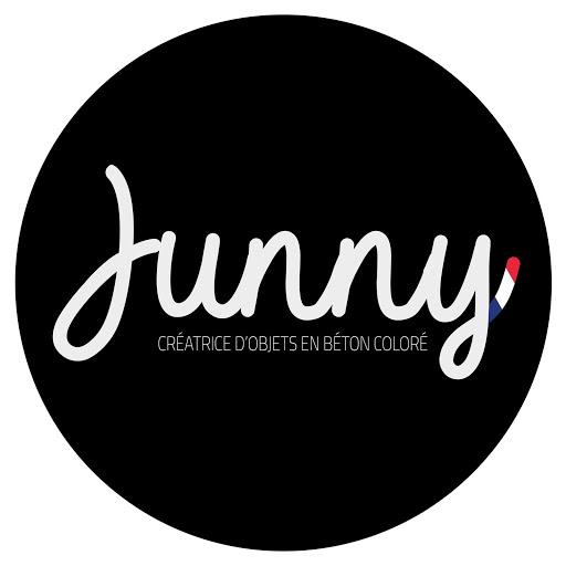 logo junny création fait-main en atelier français luminaires en béton coloré