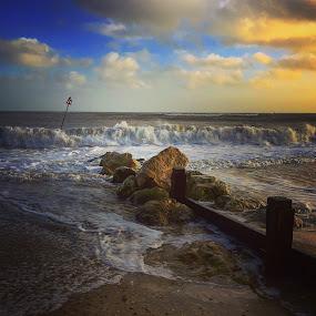 Waves at the beach by Mark Usher - Instagram & Mobile Instagram ( waves beach rocks clouds seaside )