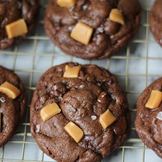 Salted Caramel Stuffed Chocolate Cookies.