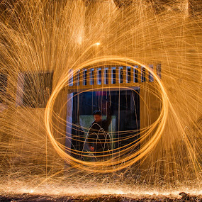 Fire wire by Ricardo Marques - Abstract Fire & Fireworks ( wire, expose, long, fire, fireworks, new year, dipawali, diwali, 2014, Steel Wool, Fire, Sparks )