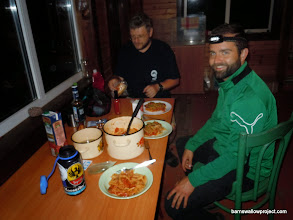 Photo: Our first dinner at the research station near Moscow