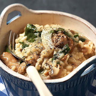 Sausage and Mushroom Risotto with Spinach
