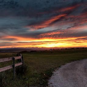 Sunset Ridge by Glenn Angel - Landscapes Sunsets & Sunrises ( farm, hill, sunset, cochrane, landscape )