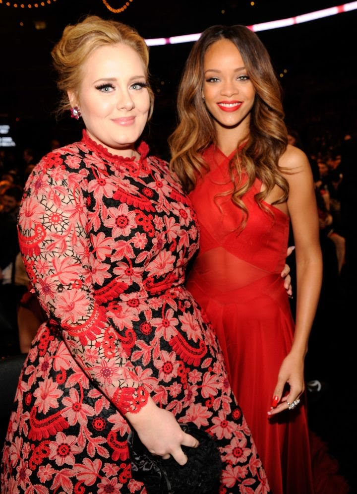 Adele and Rihanna at the Grammy Awards, 2013. ( source: KEVIN MAZUR VIA GETTY IMAGES )