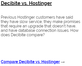 Decibite vs Hostinger