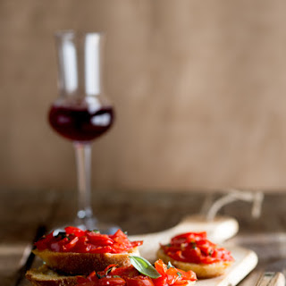 Bruschetta with Basil Infused Olive Oil
