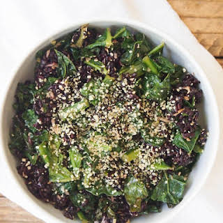 Crispy Kale, Black Rice and Coconut Salad.