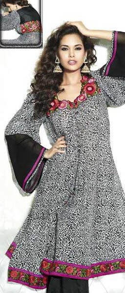 Photo: Off White and Black Faux Georgette kameez with Dupatta  Itemcode: KCR3703  Price: US$ 100.60  Shop @ http://www.utsavfashion.com/store/sarees-large.aspx?icode=kcr3703
