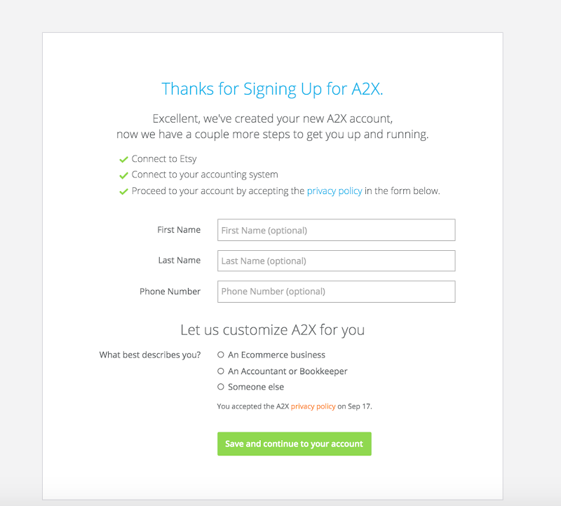 Enter details into A2X and save