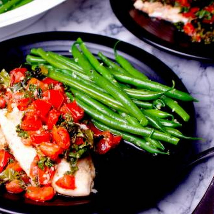 Walleye with Kale Bruschetta and Garlic Green Beans Recipe