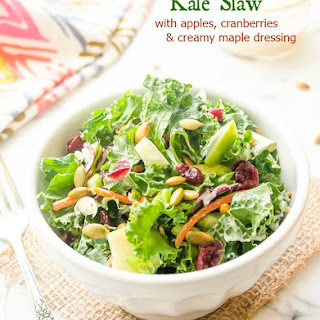 Kale Slaw with Apples, Cranberries, and Creamy Maple Dressing