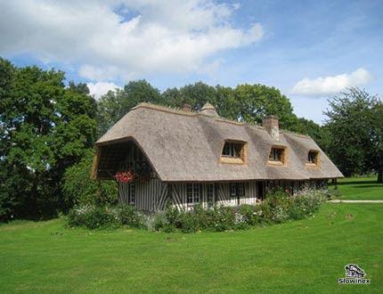 Widok sielskiego ogrodu z trawnikiem i domem z trzcinowym pokryciem