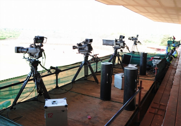 SuperSport cameras before the National First Division, Promotion and Relegation Playoff match between Black Leopards and Platinum Stars at Thohoyandou Stadium on May 16, 2018 in Thohoyandou, South Africa.