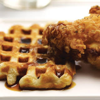 Fried Chicken and Waffles with Molasses Cider Syrup.