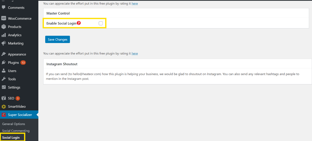 Image of how to configure the Super Socializer plugin