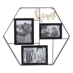 Rama foto decorativa Home, lemn si metal, cadru hexagon 50 x 44 cm