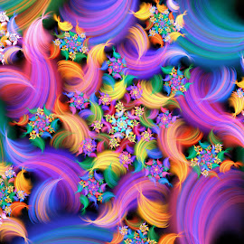 Wavy Spiral by Peggi Wolfe - Illustration Abstract & Patterns ( abstract, wolfepaw, color, bright, fractl, wave, spiral, fun, digital )