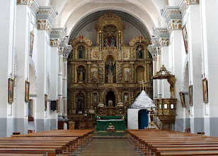 """Photo: This is Cuenca's Saint Francis Church.  It was the only church that was """"open"""" on a Saturday afternoon.   We asked our Lord to hear our intentions, and Saint Francis to pray for us and all those back home."""