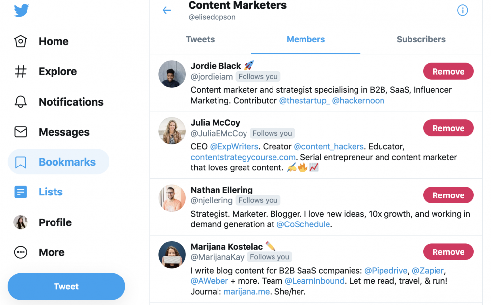 Twitter list example