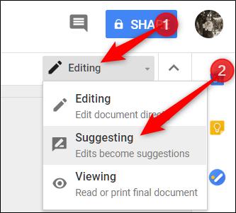 Google Docs Editing Mode