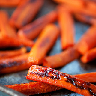 Spicy Maple Roasted Carrots.
